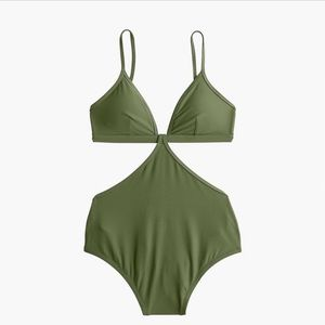J. Crew Cutout One-Piece Swimsuit, Safari NWT